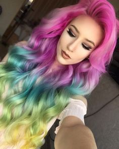 Rainbow dyed hair … - Looking for Hair Extensions to refresh your hair look instantly? http://www.hairextensionsale.com/?source=autopin-thnew
