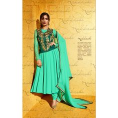 Turquoise Georgette Bridal #Anarkali Suits With Dupatta- $73.10