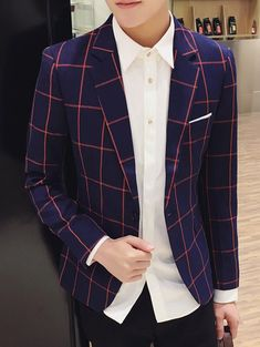 Lapel Long Sleeve Checked Breast Pocket One-Button Blazer For Men #CLICK! #clothing, #shoes, #jewelry, #women, #men