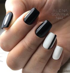 60 Acrylic Square Nails Design And Color Ideas For Short Nails White Black & Pink Page 15 of 63 Latest Fashion Trends For Woman Square Nail Designs, Short Nail Designs, White Gel Nails, Black White Nails, Nail Pink, Nail Polish Designs, Nails Design, Gel Polish, Black And White Nail Designs