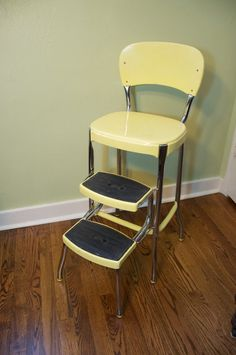 1950s Atomic Kitchen Vintage Costco Stylaire Step Stool Chair Yellow Chrome