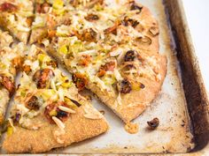 This flatbread gets its savory flavors from herb-roasted cherry tomatoes, leeks sautéed with garlic, nutty-flavored gruyère cheese, and a sprinkle of pine nuts. Nutrition And Dietetics, Nutrition Guide, Roasted Cherry Tomatoes, Canning Tomatoes, Flatbread Recipes, Oven Roast, Light Recipes, Vegetable Pizza, Appetizers