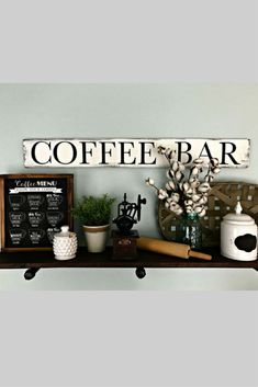 This is the coffee bar sign I have been looking for. I love the rustic look of the wood and that the words are in one line. Kitchen Ideas, Kitchen Decor, Business Office Decor, Hot Cocoa Bar, Buying A New Home, Rustic Signs, Bar Signs, Bar Ideas, Farmhouse Decor