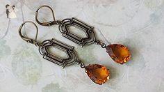 Topaz Crystal Drop Earrings Antique Brass Art Deco Topaz Earrings - Wedding earings (*Amazon Partner-Link)