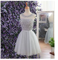 Elegant Gray Prom Dresses,tulle flower beaded Prom Dresses,short prom dresses,short a-line Prom Dresses,party evening gown custom