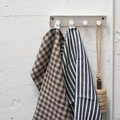 stripe and check linen dish towels  www.clothandgoods.com