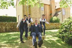 The groomsmen having some fun before the ceremony. Photo by Benjamin Stuart Photography @uftoncourt #weddingphotography #groomsmen #suits #wedding