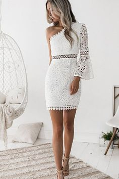 Women's Off Shoulder Going out Club Sophisticated Flare Sleeve Mini Sheath Dress - Solid Colored White, Lace One Shoulder Summer White M L XL / Sexy / Skinny White Bridesmaid Dresses, Homecoming Dresses, Prom Dress, Short Dresses, Summer Dresses, Formal Dresses, Mini Dresses, Lace Dresses, Dress Long