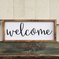 Handwritten Font Welcome Framed Wood Sign by 4Lovecustomgifts