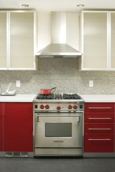 Red kitchen cabinets | Model Remodel, Seattle, WA