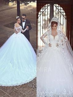 Ball-Gown Tulle Long Sleeves Off-The-Shoulder Court Train Wedding Dresses  (002147999) 821d298cbfdd