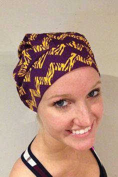 geaux tigers, lsu, purple and yellow, purple and gold chevron tiger print scrub hat bouffant hat at www.alikaps.com