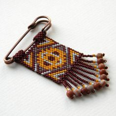 Ethnic style beaded brooch by Anabel27shop on Etsy, $23.00