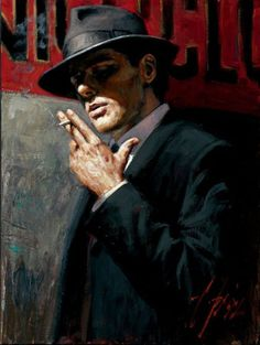"""Man at the Red Sign"" is a hand embellished limited edition giclee on stretched canvas by Fabian Perez. The piece is numbered and hand signed by the artist and comes with a Certificate of Authenticity. x (image). Fabian Perez, Mafia, Michael Lang, Jack Vettriano, Red Sign, World Of Darkness, Pulp Art, The Villain, Art Design"