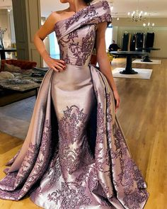 Quality One Shoulder Long Evening Gowns with Appliques Floor Length Formal Occasion Dresses with Overlay Skirt with free worldwide shipping on AliExpress Mobile Pageant Gowns, Prom Dresses, Reception Dresses, Wedding Dresses, Couture Dresses, Fashion Dresses, Long Evening Gowns, Gowns Of Elegance, Celebrity Dresses