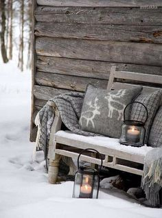 Winter Outdoor Grey Rustic Decor
