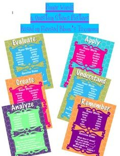 Revised Bloom's Taxonomy Power Words  Questions Posters