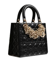 Christian Dior Black leather 'Lady Dior' bag and iridescent pearl necklace