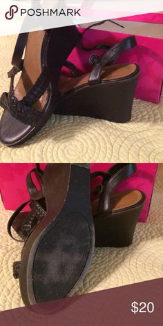Brown braided wedges Euc brown braided wedge with box Candie's Shoes Wedges