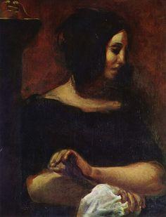 Eugène Delacroix - Portrait of George Sand 1838 oil on canvas