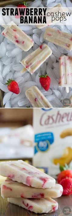 Nothing hits the spot on a hot summer day like one of these Strawberry Banana Cashew Pops! Only 3 ingredients make up these popsicles that the kids (and adults!) will love.