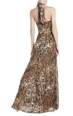 Starr Deep V-Neck Halter Dress   BCBG $398.00