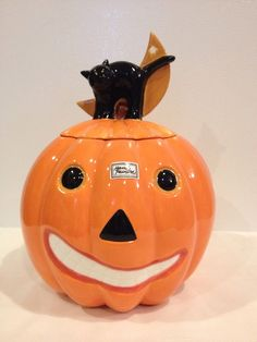 Pumpkin & Black Cat Cookie Jar by Dept. 56