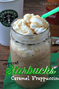 Save money on Starbucks coffee, by making your own Frapp!! This is a super easy recipe to try- Copycat Starbucks Caramel Frappuccino Recipe