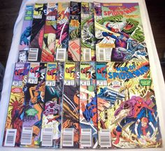 Web of Spider-Man Lot of 13 Gwen Stacy Ultron Lizard Annuals Origins   Included in this lot are:  Web of Spider-Man #43, 44, 53, 92, 94, 103, 110, 111, 123, 124, 125 Web of Spider-Man Annual #2, 7  #103 - Maximum Carnage tie-in #110, 111 - The Lizard #124 - Mark of Kane (part 1) #125 - Giant-Size, Gwen Stacy Annual #2 - Arthur Adams art Annual #7 - Ultron plus Origins of Green Goblin, Venom, Hobgoblin and more retold  Lot of 13 comics.