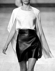 Celine // minimal style // black leather skirt & white silk shirt