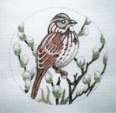 Handpainted Song Sparrow Needlepoint Canvas by colors1 on Etsy