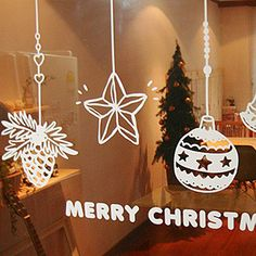 DCTAL Christmas Sticker Glass Window Decal Home Decor Shop Decoration X mas Stic. - Best Home Decoration Office Christmas, Noel Christmas, Winter Christmas, Christmas Bulbs, Christmas Crafts, Deco Noel Nature, Wall Stickers Window, Christmas Window Decorations, Christmas Drawing