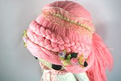 VIRGO ZODIAC Crochet Art Doll. Closeup of the doll hairstyle. She is handmade in free form and originally designed by me. OOAK. She may now be viewed in my Etsy Shop - CreativeChaosMNL
