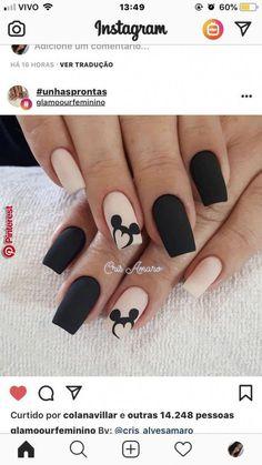 Ideas nails sencillas cortas negras for 2019 Disney Acrylic Nails, Almond Acrylic Nails, Cute Acrylic Nails, Acrylic Nail Designs, Cute Nails, Nail Art Designs, My Nails, Disney Nail Designs, Nails Design