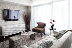 Queensway living - contemporary - living room - toronto - by LUX Design Inc.