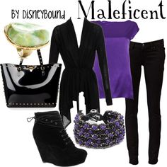 This one is my favorite!!! This whole site has a ton of Disney outfit ideas that are really cute. Maleficent, created by leslieakay on Polyvore