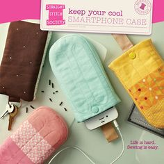 Gerade Stitch Gesellschaft Keep Your Cool iPod/iPhone Case Kit Schnittmuster - Ice Cream Cone Gadget Fall