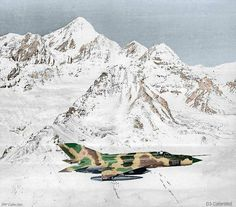 Soviet MiG-21R over mountains in Afghanistan, 1982.