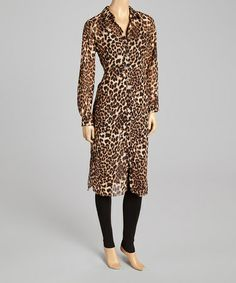 This Brown Leopard Button-Up Tunic by Andrée is perfect! #zulilyfinds