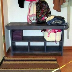 Entry Bench.. not this one but something similar add.. baskets below?