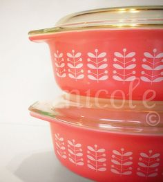 Pyrex Pink Stems casseroles...love! I think having a baby girl on the way is making pink grow on me, but this is more coral, I've always liked coral!