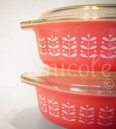 Pyrex Pink Stems casseroles...love!
