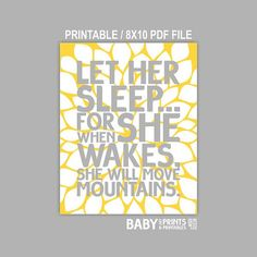 Printable Grey and Yellow nursery art Let her by babyartprints, $6.00