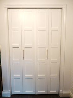 Beautiful look for Oscars closet door! Closet Door DIY - Wood casing (trim) applied to door and painted for faux five panel doors Diy Closet Doors, Closet Door Makeover, Hall Closet, Closet Bedroom, Folding Closet Doors, Bedroom Doors, Closet Makeovers, Closet Door Bifold, Replacing Closet Doors