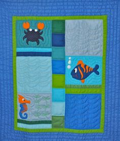 Sea Creatures toddler quilt (finished quilt)