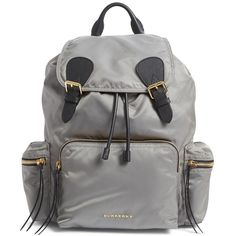 Women's Burberry 'Medium Runway Rucksack' Nylon Backpack ($1,250) ❤ liked on Polyvore featuring bags, backpacks, thistle grey, burberry bags, water resistant backpack, quilted nylon backpack, burberry and pocket backpack
