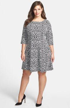 Taylor Dresses jacquard Knit Fit & Flare Dress (Plus Size) available at… Plus Size Dresses, Plus Size Outfits, Nice Dresses, Short Dresses, Plus Size Fashion For Women, Plus Size Women, Taylor Dress, Dress Cuts, African Dress