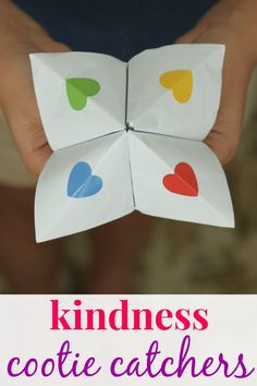 I thought it would be fun to make kindness cootie catchers (or fortune tellers) for the kids to play with their friends. We wrote kindness ideas under the flaps of the fortune teller.
