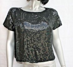 3a948a776a003f Vintage 80s Women s Small Crop Blouse Black Sequins 100% Silk Short Sleeve  Retro  ShimmerNewYork