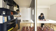 Modern apartment with moving walls designed by Yuko Shibata from Japan. Sliding wall helps transform the library into a living room and t. Maximize Small Space, Small Space Living, Small Spaces, Living Area, Living Spaces, Home Office, Office Interior Design, Office Interiors, Murs Mobiles